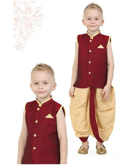 Ethniks Neu Ron Sleeveless Kurta And Dhoti Set - Maroon Beige