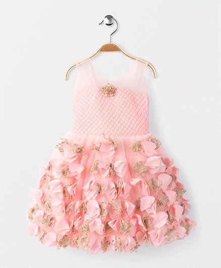 Adores Ruffle Sleevless Party Wear Dress - Peach