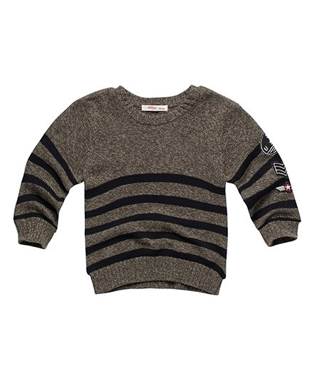 Fox Baby Full Sleeves Sweater - Green Black