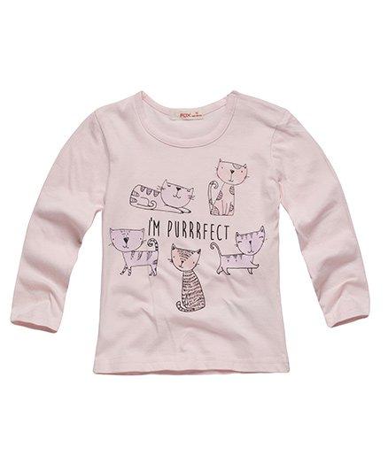 Fox Baby Full Sleeves Tee Kitty Print - Light Pink