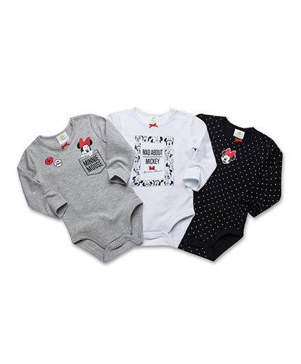 Fox Baby Full Sleeves MInnie Print Onesies Pack of 3 - Grey White Black