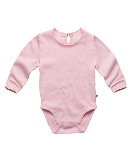 Fox Baby Full SLeeves Solid Colour Onesie - Light Pink