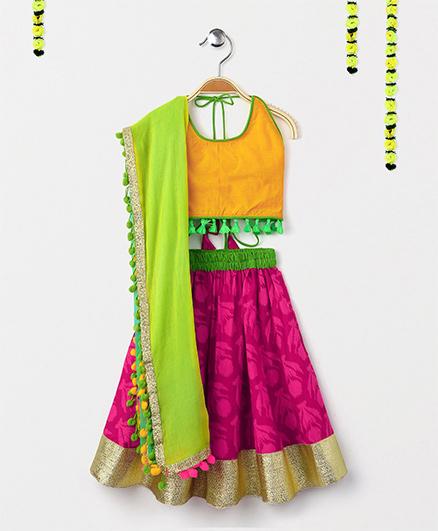 Kids Chakra Tulip Print Ghagra Choli With Dupatta - Dark Pink & Yellow
