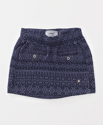 Vitamins Printed Skirt - Navy Blue