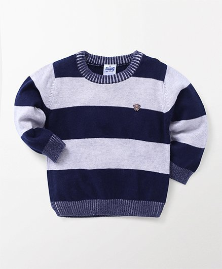 Simply Full Sleeves Dual Color Sweatshirt - Navy Blue & White
