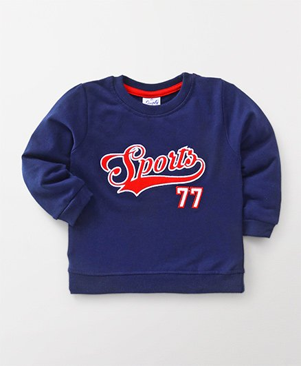 Simply Full Sleeves Sweatshirt Sports Embroidery - Navy