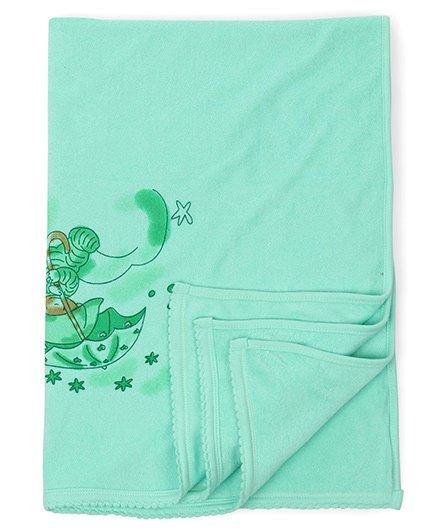Tinycare Baby Towel Teddy Print - Light Green