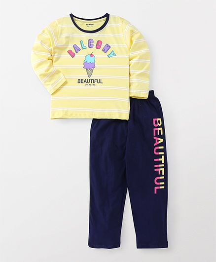 Doreme Full Sleeves Night Suit Ice Cream Print - Yellow Navy
