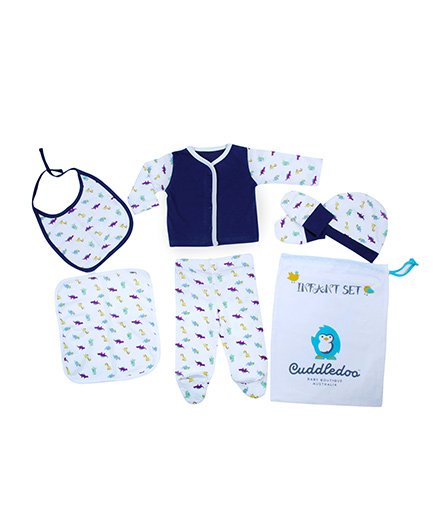 Cuddledoo Infant Clothing Set Dino Print Pack of 6 - White Blue