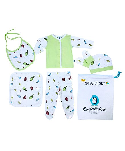 Cuddledoo Infant Clothing Set Ice Cream Print Pack of 6 - White Green