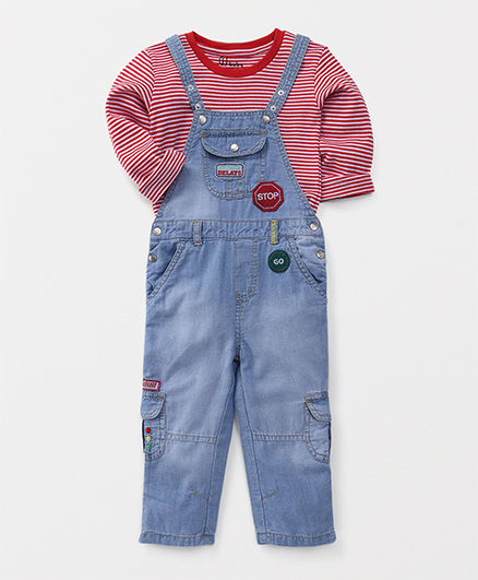 GJ Baby Full Sleeves T-shirt With Dungaree - Blue Red