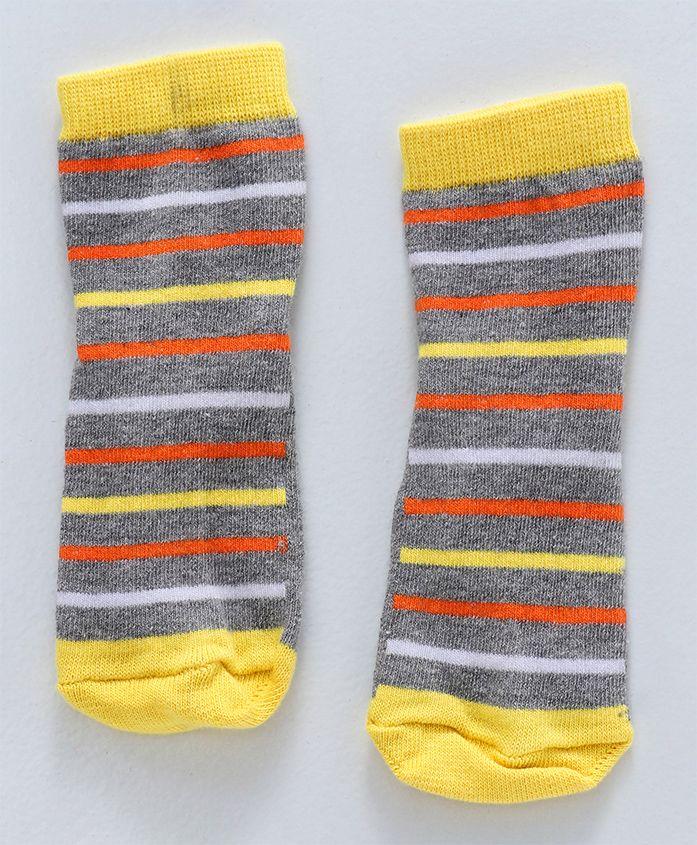 Cute Walk by Babyhug Anti Skid Ankle Length Socks Striped Design - Yellow & Black