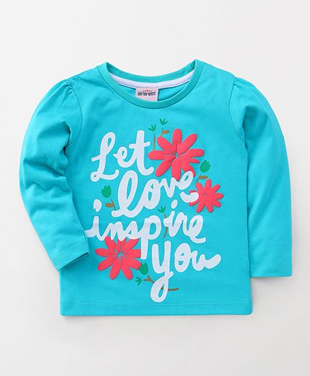 Button Noses Full Sleeves Tee Printed - Aqua Blue