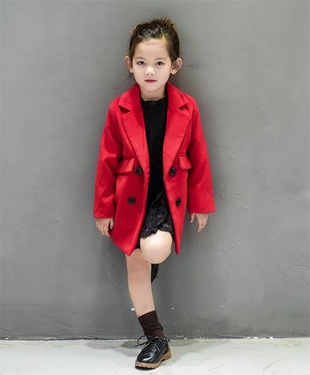 Pre Order - Superfie Velvet Buttoned Long Coat - Red