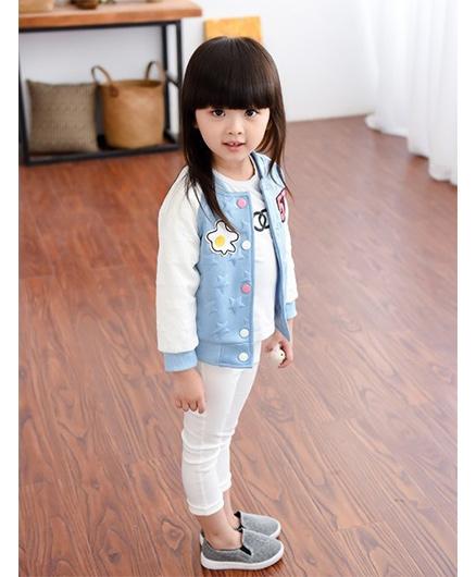 Pre Order - Superfie Cute Print Buttoned Jacket - Blue