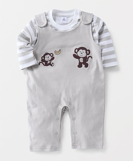 ToffyHouse Dungaree Style Romper With Tee Monkey Patch - Grey