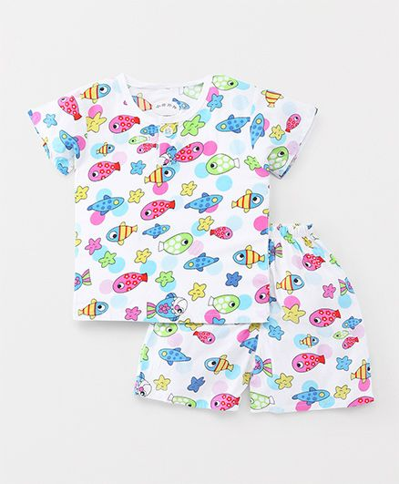 Party Princess Fish Print Night Suit - White