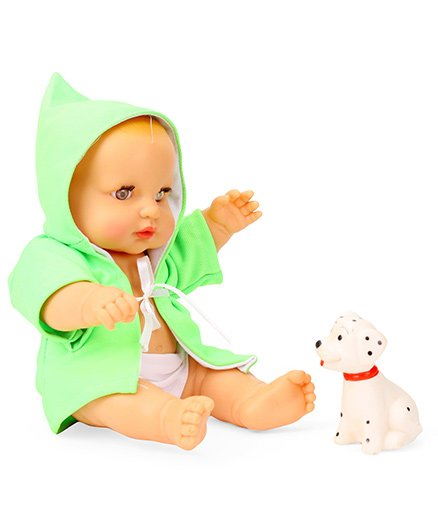 Speedage Cute Baby Doll With Pet Green - 22 cm