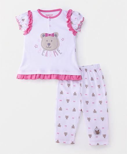 Wonderchild 2 Piece Teddy Applique Set - Pink