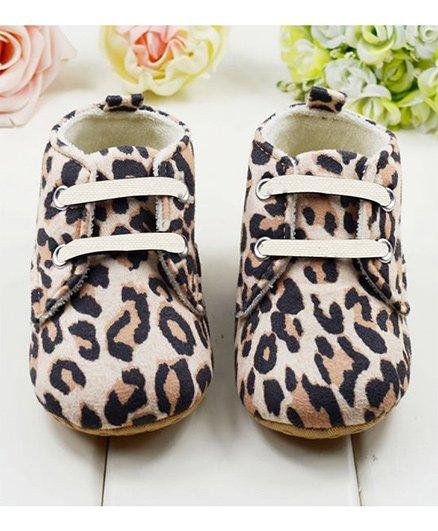 Wow Kiddos Leopard Print Booties - Brown