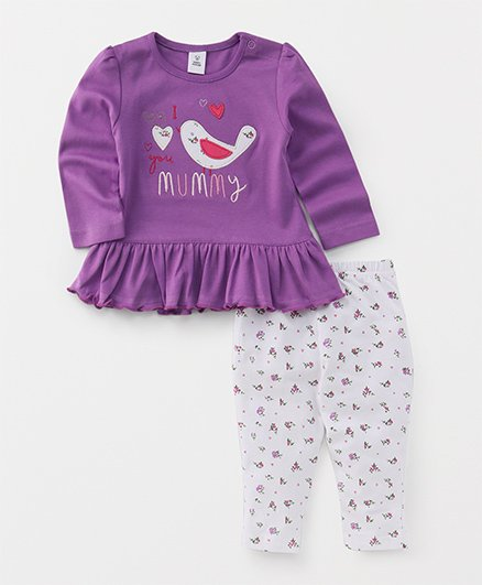 ToffyHouse Full Sleeves Top And Leggings Set Bird Patch - Purple White