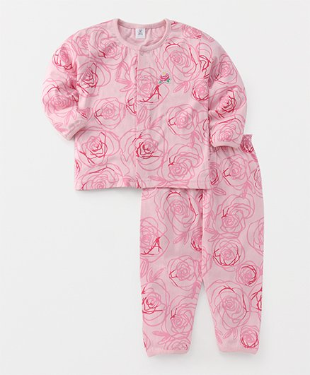 ToffyHouse Full Sleeves Night Suit Floral Print - Pink