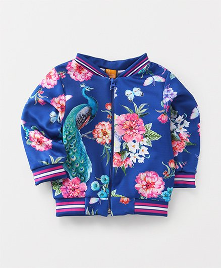 Little Kangaroos Full Sleeves Sweat Jacket Peacock Print - Blue