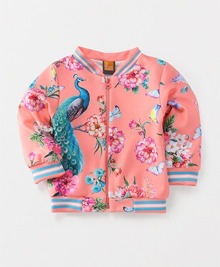 Little Kangaroos Full Sleeves Sweat Jacket Peacock Print - Peach