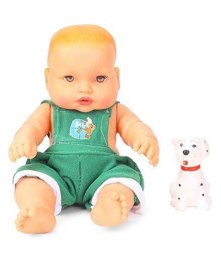 Speedage Cute Baby Doll With Pet Animal Green - 21 cm