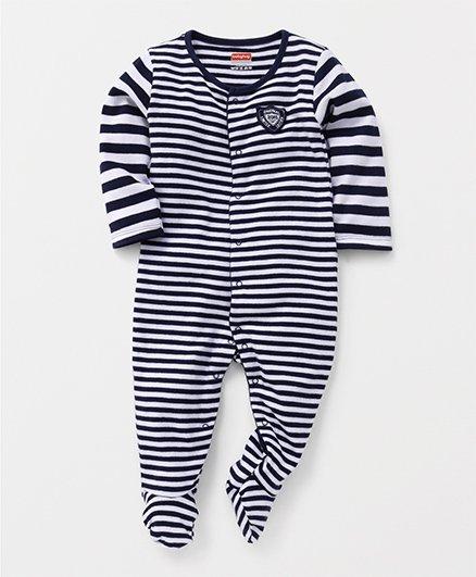Babyhug Full Sleeves Stripe Footed Sleepsuit - Navy Blue White