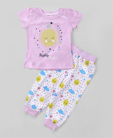 Babyhug Short Sleeves Night Suit Set Sun Print - Pink