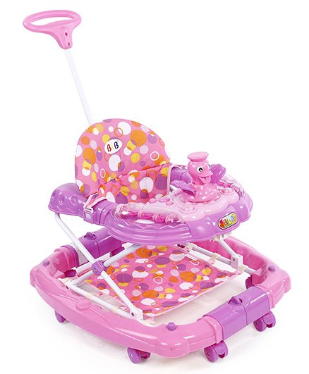 Baby Musical Walker Cum Rocker With Push Handle - Pink
