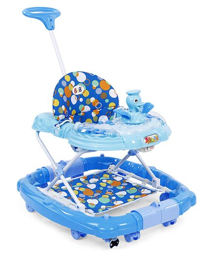 Baby Musical Walker Cum Rocker With Push Handle - Blue