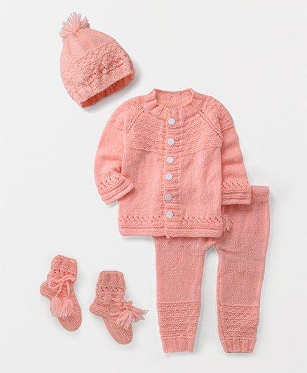 The Original Knit Sweater With Pajama Cap & Booties - Pink