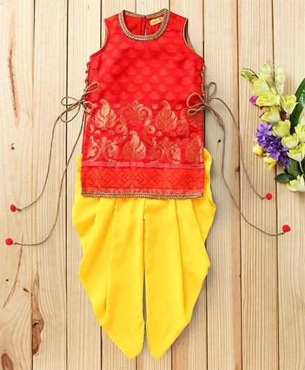 Twisha Brocade Kurta & Dhoti Set - Red & Yellow