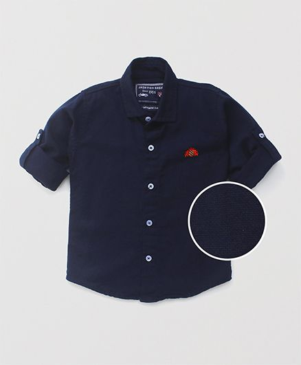 Jash Kids Full Sleeves Plain Shirt - Navy Blue