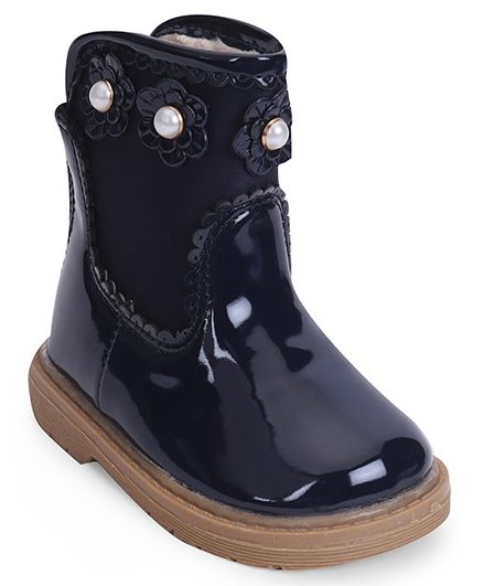 Cute Walk by Babyhug Ankle Length Boots Flower With Pearl Applique - Navy Blue