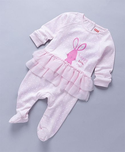 Babyhug Full Sleeves Footed Sleepsuit With Frill At Waist Bunny Print - Light Pink