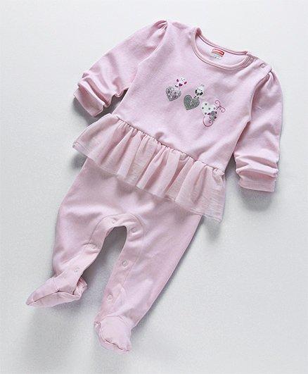Babyhug Tutu Style Sleep Suit Bird Design - Light Pink