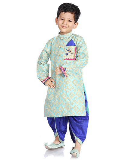 Little Pockets Store Dhoti Kurta With Pocket Work - Blue