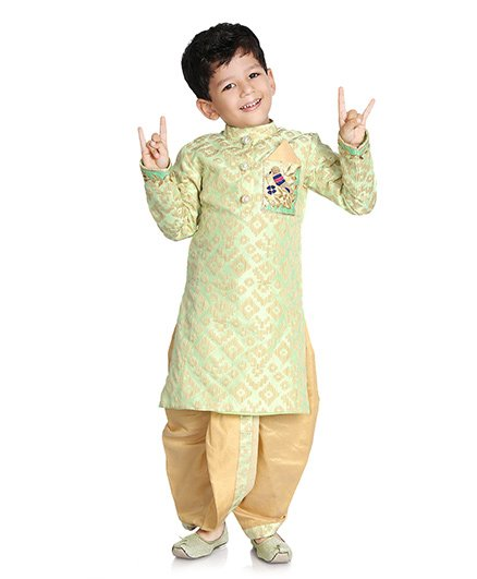 Little Pockets Store Dhoti Kurta With Pocket Work - Green