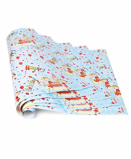 Disney Gift Wrapper Happy Birthday Print Pack Of 5 - Blue