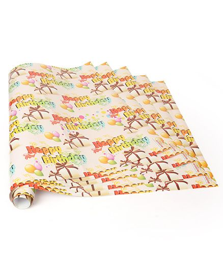 Disney Gift Wrapper Happy Birthday Print Pack Of 5 - Peach