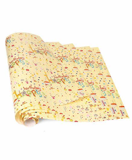 Disney Gift Wrapper Happy Birthday Print Pack Of 5 - Yellow