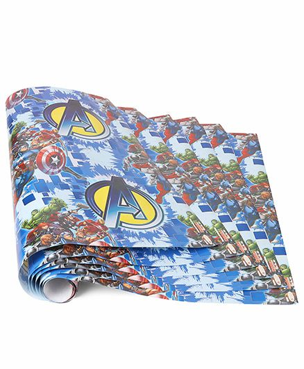 Marvel Gift Wrapper Avenger Print Pack Of 5 - Blue