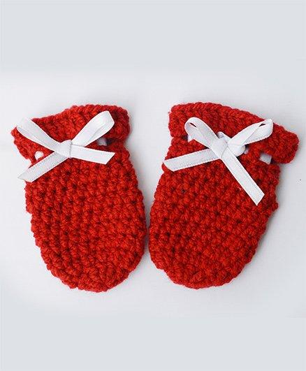 Love Crochet Art Crochet Baby Mittens For Infant Baby - Red