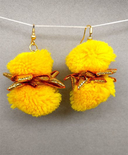 Tiny Closet Pom-Pom Earrings - Yellow