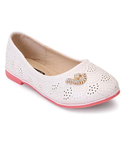 Cute Walk by Babyhug Ballerinas With Embellishments - White