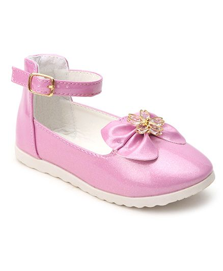 Cute Walk By Babyhug Belly Shoes Embellished Bow Applique - Pink