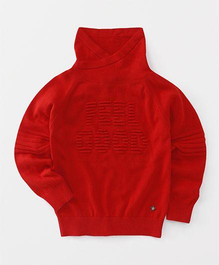 Vitamins Full Sleeves High Neck Sweatshirt - Red